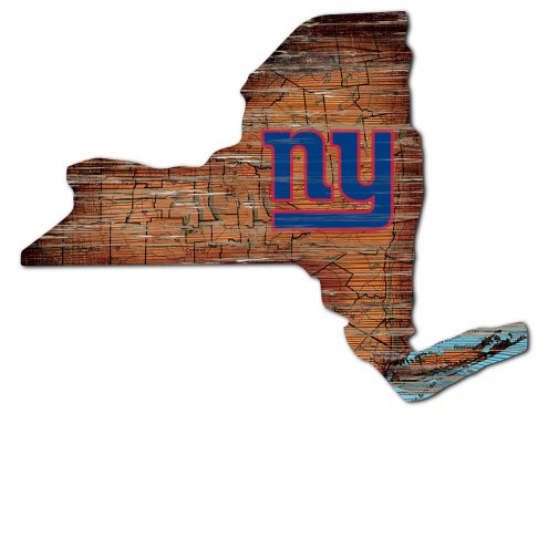 New York Giants Distressed State with Logo Sign