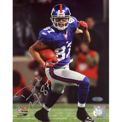 "New York Giants Domenik Hixon Turning Upfield Blue Jersey Signed 16"" x 20"" Photo"