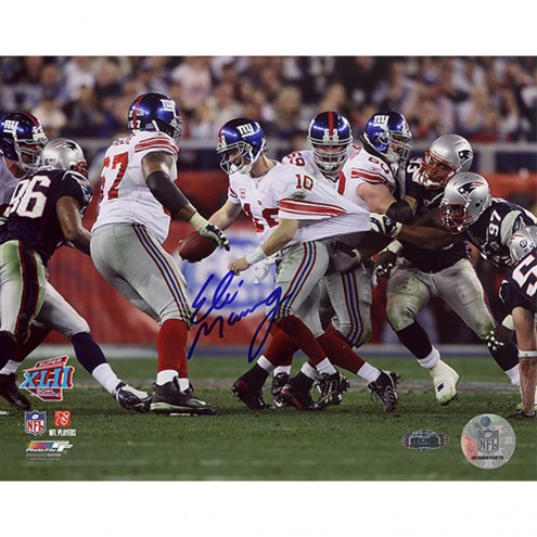 """New York Giants Eli Manning Super Bowl XLII Escaping Tackle Signed 16"""" x 20"""" Photo"""