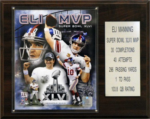 "New York Giants Eli Manning Super Bowl XLVI MVP 12 x 15"" Player Plaque"