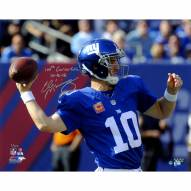 """New York Giants Eli Manning Throwing A Pass w/ """"100th Win 10/16/16"""" Signed 16"""" x 20"""" Photo"""