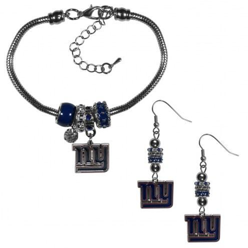 New York Giants Euro Bead Earrings & Bracelet Set