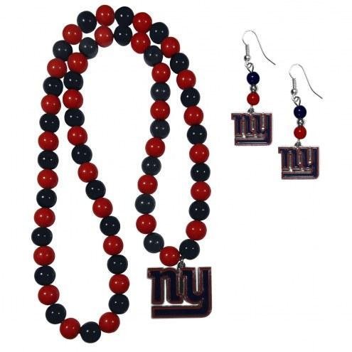 New York Giants Fan Bead Earrings & Necklace Set