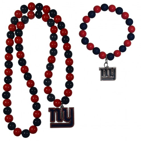 New York Giants Fan Bead Necklace & Bracelet Set