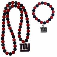 New York Giants Fan Bead Necklace & Bracelet Set