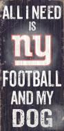 New York Giants Football & Dog Wood Sign