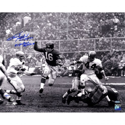 """New York Giants Frank Gifford Running With HOF, 8 Time Pro Bowl Signed 16"""" x 20"""" Photo"""