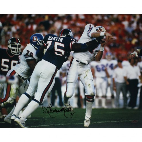 "New York Giants George Martin SB XXI Hit on Elway Signed 16"" x 20"" Photo"