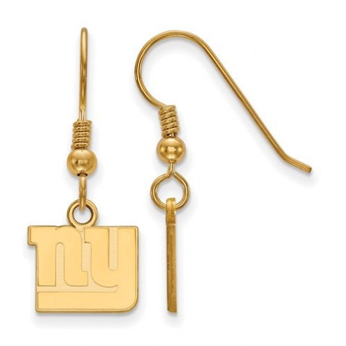 New York Giants Sterling Silver Gold Plated Extra Small Wire Dangle Earrings