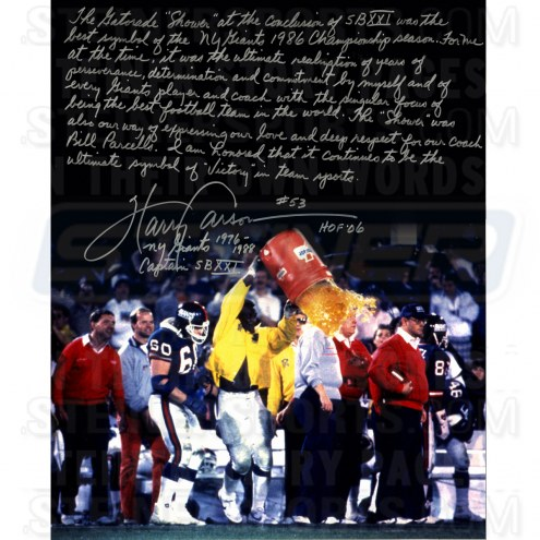 "New York Giants Harry Carson Gatorade Story Signed 16"" x 20"" Photo"