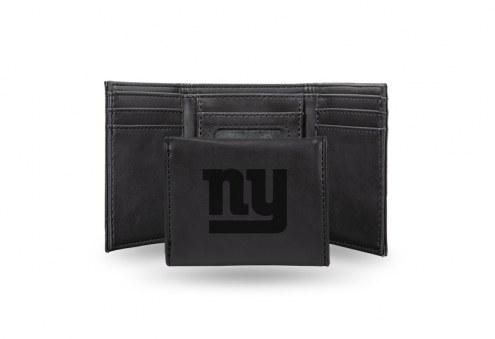 New York Giants Laser Engraved Black Trifold Wallet