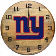 New York Giants Oak Barrel Clock
