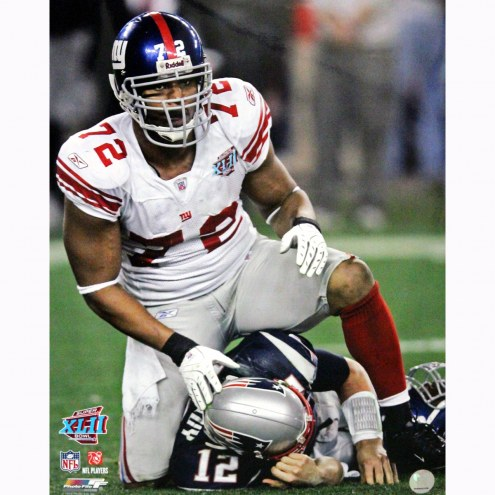 "New York Giants Osi Umenyiora On Top of Brady Signed 16"" x 20"" Photo"