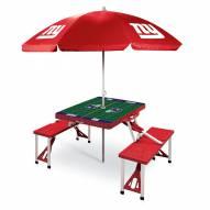 New York Giants Red Picnic Table w/Umbrella