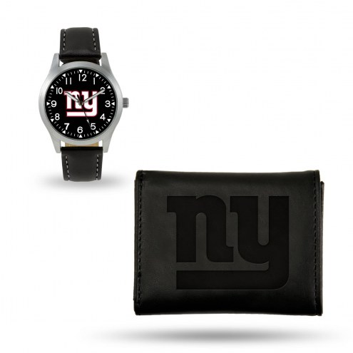 New York Giants Sparo Black Watch & Wallet Gift Set