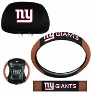 New York Giants Steering Wheel & Headrest Cover Set