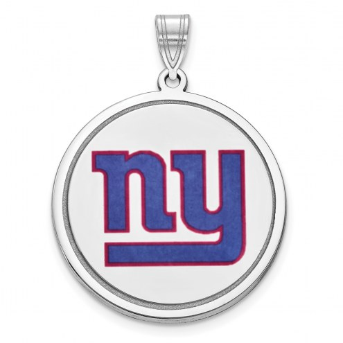 New York Giants Sterling Silver Disc Pendant