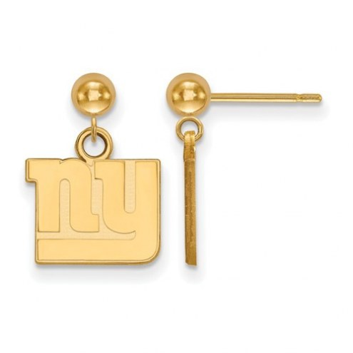 New York Giants Sterling Silver Gold Plated Dangle Ball Earrings