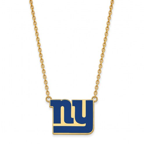 New York Giants Sterling Silver Gold Plated Large Pendant Necklace