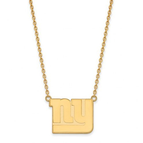 New York Giants Sterling Silver Gold Plated Large Pendant with Necklace