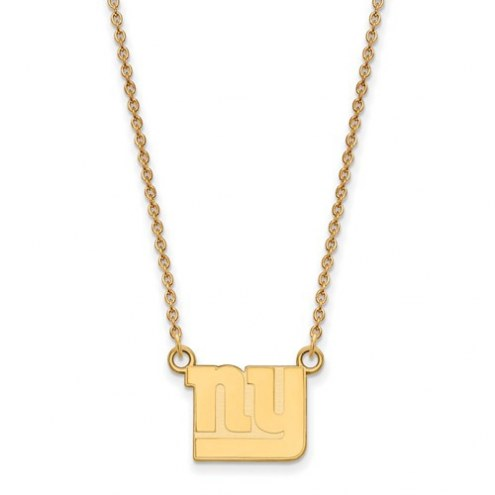New York Giants Sterling Silver Gold Plated Small Pendant with Necklace