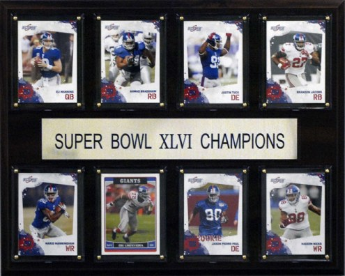 "New York Giants 12"" x 15"" Super Bowl XLVI 8 Card Plaque"