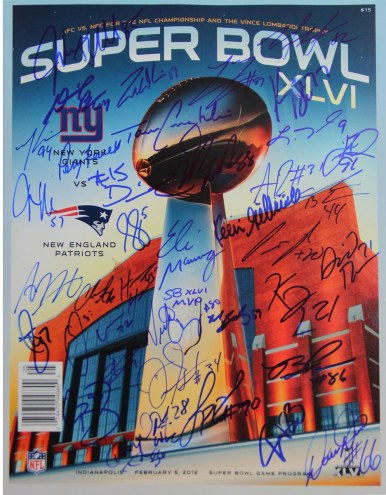 New York Giants Super Bowl XLVI Program Team Signed