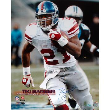 "New York Giants Tiki Barber Eclipsing the 10,000 Yard Rushing Mark Signed 16"" x 20"" Photo"