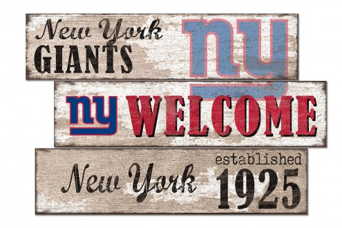 New York Giants Welcome 3 Plank Sign