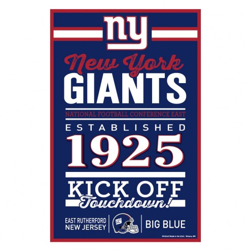 New York Giants Established Wood Sign
