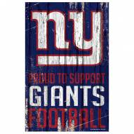 New York Giants Proud to Support Wood Sign