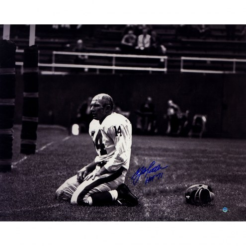"New York Giants YA Tittle Agony of Defeat Blood Metallic w/ ""HOF 71"" Signed 16"" x 20"" Photo"