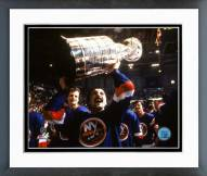 New York Islanders Bryan Trottier Holding Stanley Cup Framed Photo
