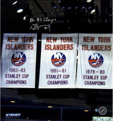 """New York Islanders Butch Goring Banners w/ """"80-83 Champs"""" Signed 16"""" x 20"""" Photo"""