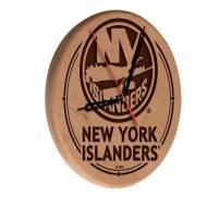 New York Islanders Laser Engraved Wood Clock