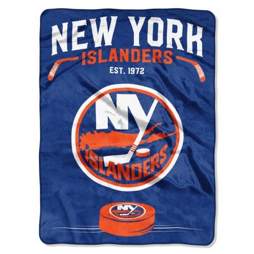 New York Islanders Inspired Plush Raschel Blanket