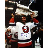 "New York Islanders Ken Morrow w/ Stanley Cup Overhead Signed 16"" x 20"" Photo"
