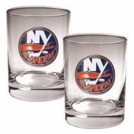 New York Islanders NHL Rocks Glass - Set of 2