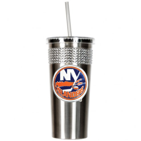 New York Islanders Stainless Steel Bling Tumbler with Straw
