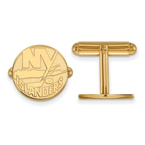 New York Islanders Sterling Silver Gold Plated Cuff Links