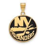 New York Islanders Sterling Silver Gold Plated Large Enameled Pendant