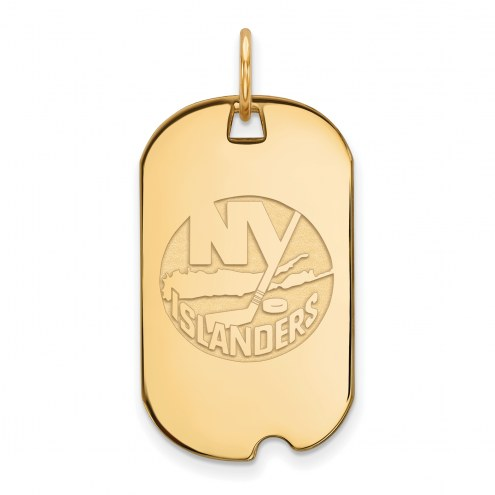 New York Islanders Sterling Silver Gold Plated Small Dog Tag