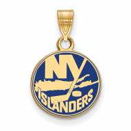 New York Islanders Sterling Silver Gold Plated Small Enameled Pendant