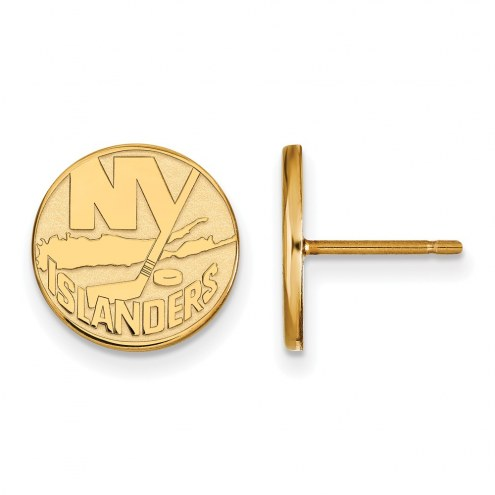 New York Islanders Sterling Silver Gold Plated Small Post Earrings