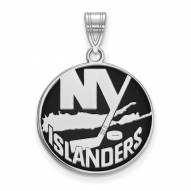 New York Islanders Sterling Silver Large Enameled Pendant