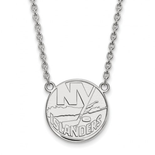New York Islanders Sterling Silver Large Pendant Necklace