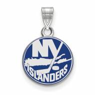 New York Islanders Sterling Silver Small Enamel Pendant