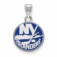 New York Islanders Sterling Silver Small Enamel Pendant