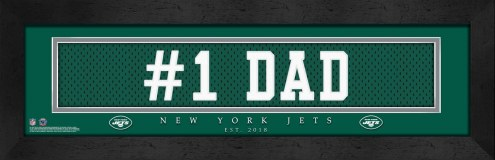 "New York Jets ""#1 Dad"" Stitched Jersey Framed Print"