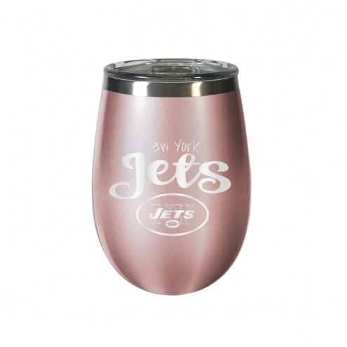 New York Jets 10 oz. Rose Gold Blush Wine Tumbler